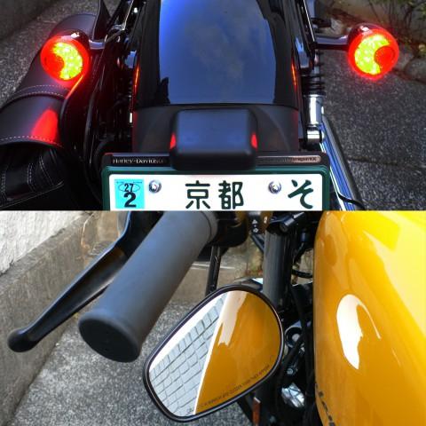 ブレーキランプとテールランプを兼ねたウインカーやハンドルの下側に取り付けられたミラーなど よく日本のお役所が許可したなぁと思える仕様もフォーティエイトの特徴。
