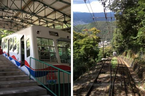 左:叡山ケーブルカー。階段からも急傾斜であることがわかる。 右:ケーブルからの景色。