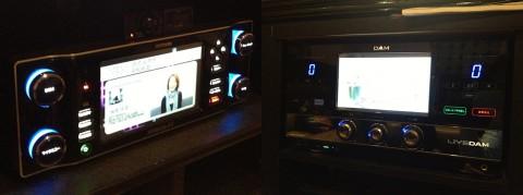 左がJOYSOUND f1の主装置。右がLIVE DAMの主装置。