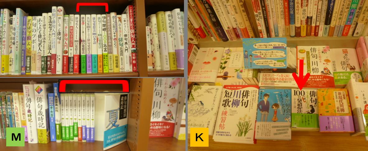 左:MARUジュン書店は、ひらのこぼ著がほぼシリーズで揃う。右:紀伊国屋は新刊文庫1冊のみ。