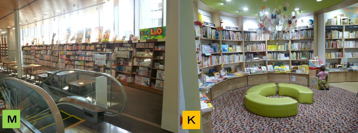 左:MARUジュン書店(児童書)の椅子コーナーはエレベータ―ホール。右:紀伊国屋(児童書)は棚の側にソファ。