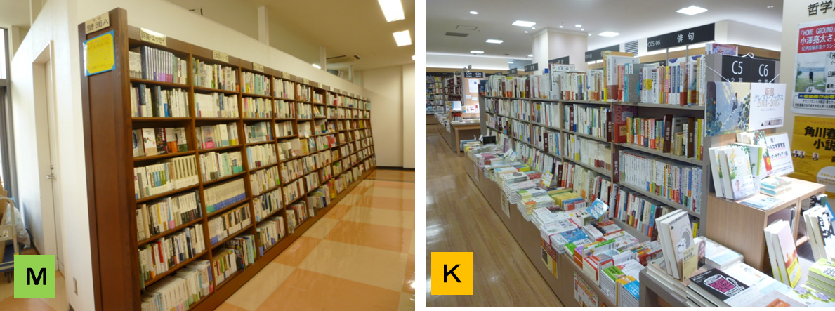 左:MARUジュン書店は、高い棚がずらり並ぶ一列が詩歌。右:紀伊国屋は低めの棚で列も短い。