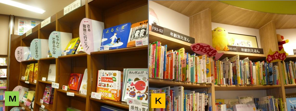 左:MARUジュン書店(児童書)のPOP.突き出し型で見やすく、フレーズも考えてある。右:紀伊国屋(児童書)の「3さい」「4さい」POP,ストレートでわかりやすかった。(もちろん年齢別棚はMARUジュンにもありましたが…)